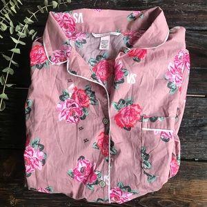 NWOT Victoria's Secret Mauve Pink Rose Pajama Top